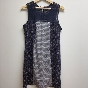 Xhilaration Blue tank dress with pattern crochet